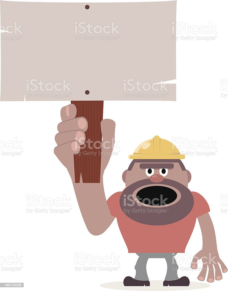 Construction Worker holding a blank sign for your message vector art illustration