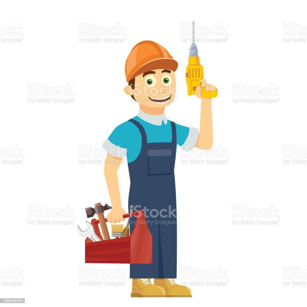 Construction worker holds in hands a tool box. vector art illustration