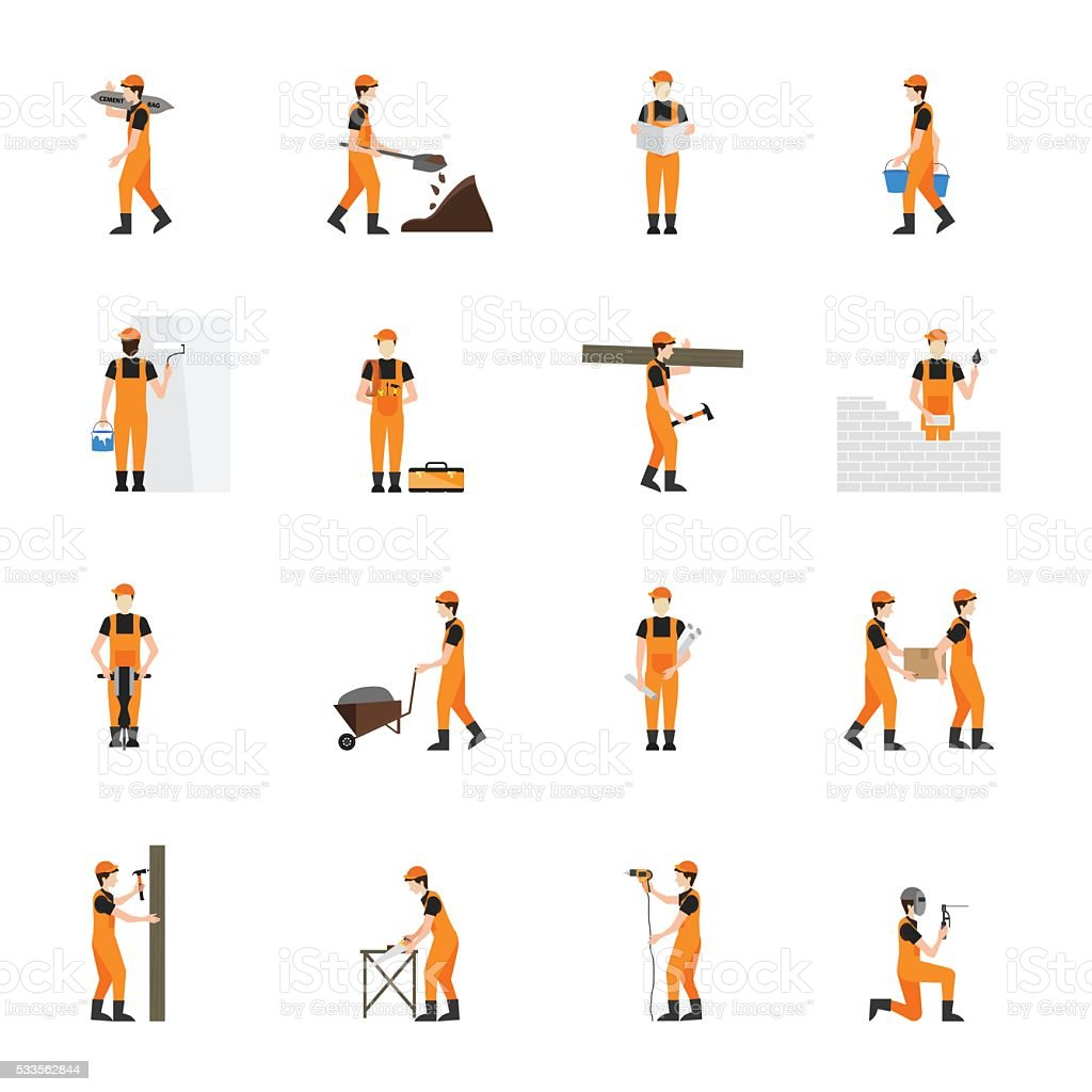 Construction worker man in helmet  isolated on white background. vector art illustration