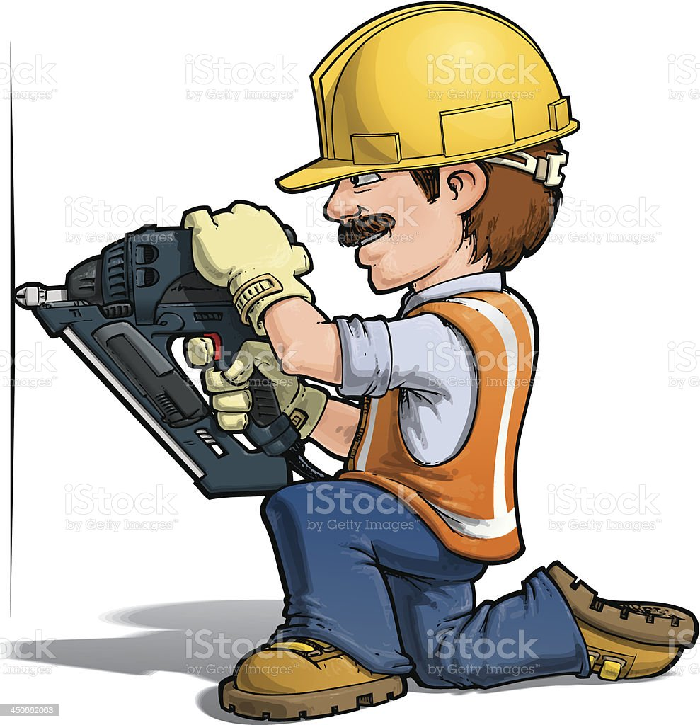 Construction Worker -- Nailing royalty-free stock vector art