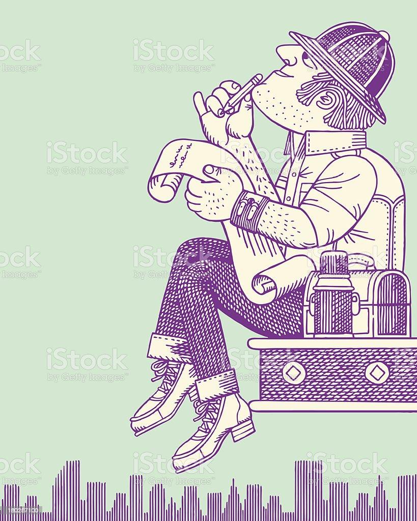 Construction Worker on Lunch Break royalty-free stock vector art
