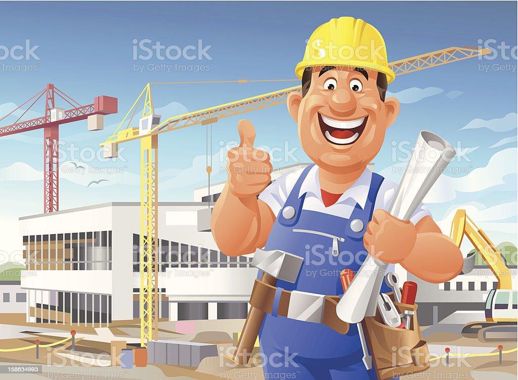 Construction Worker on Site vector art illustration