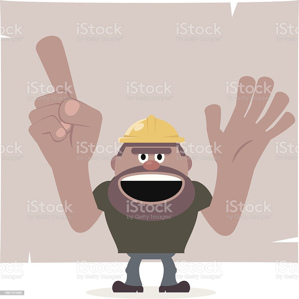 Construction worker pointing blank paper and showing something vector art illustration