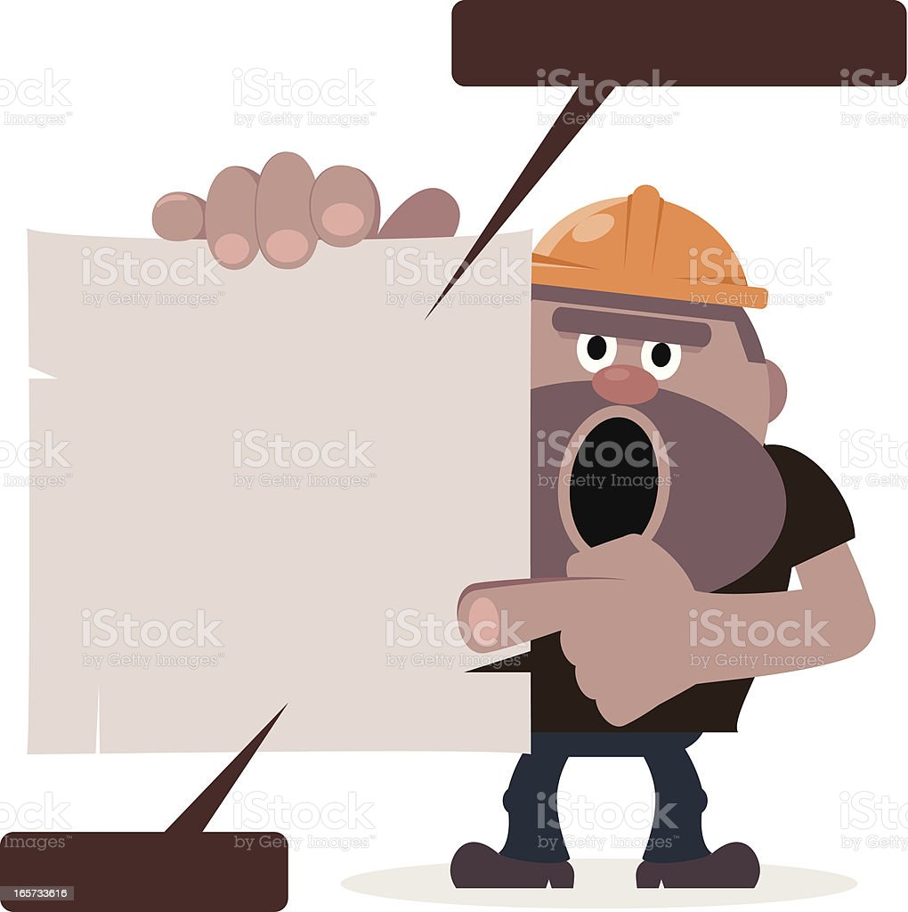 Construction worker pointing blank sign by index finger royalty-free stock vector art