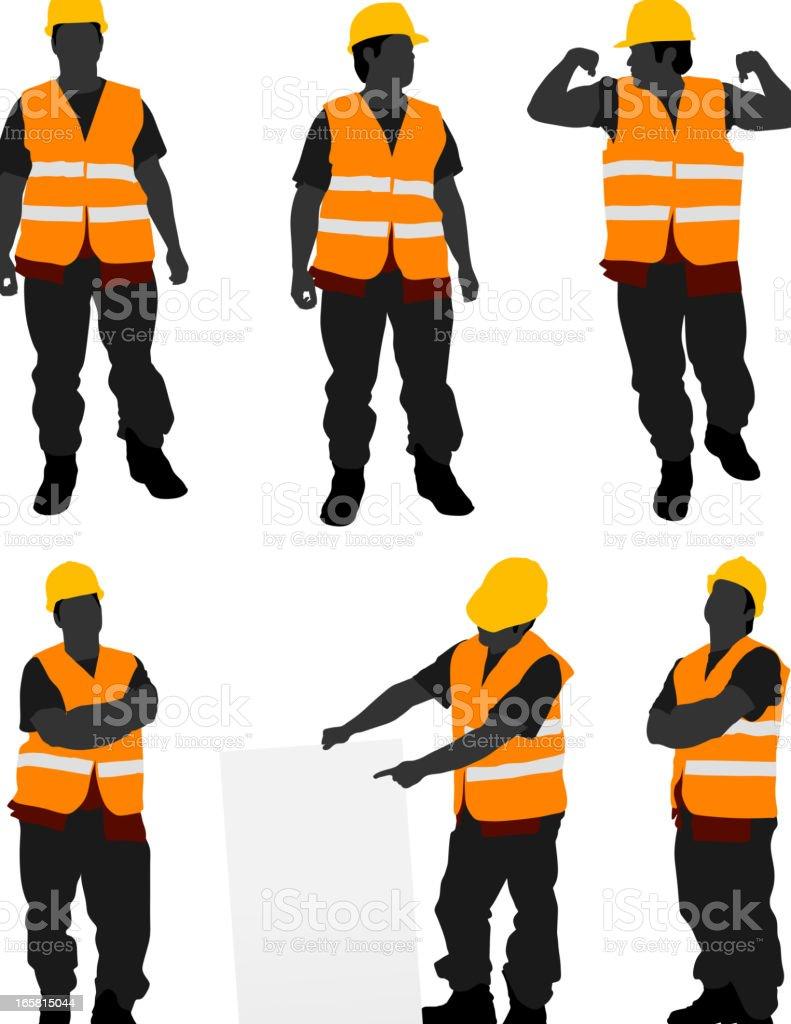 Construction Worker Posing vector art illustration