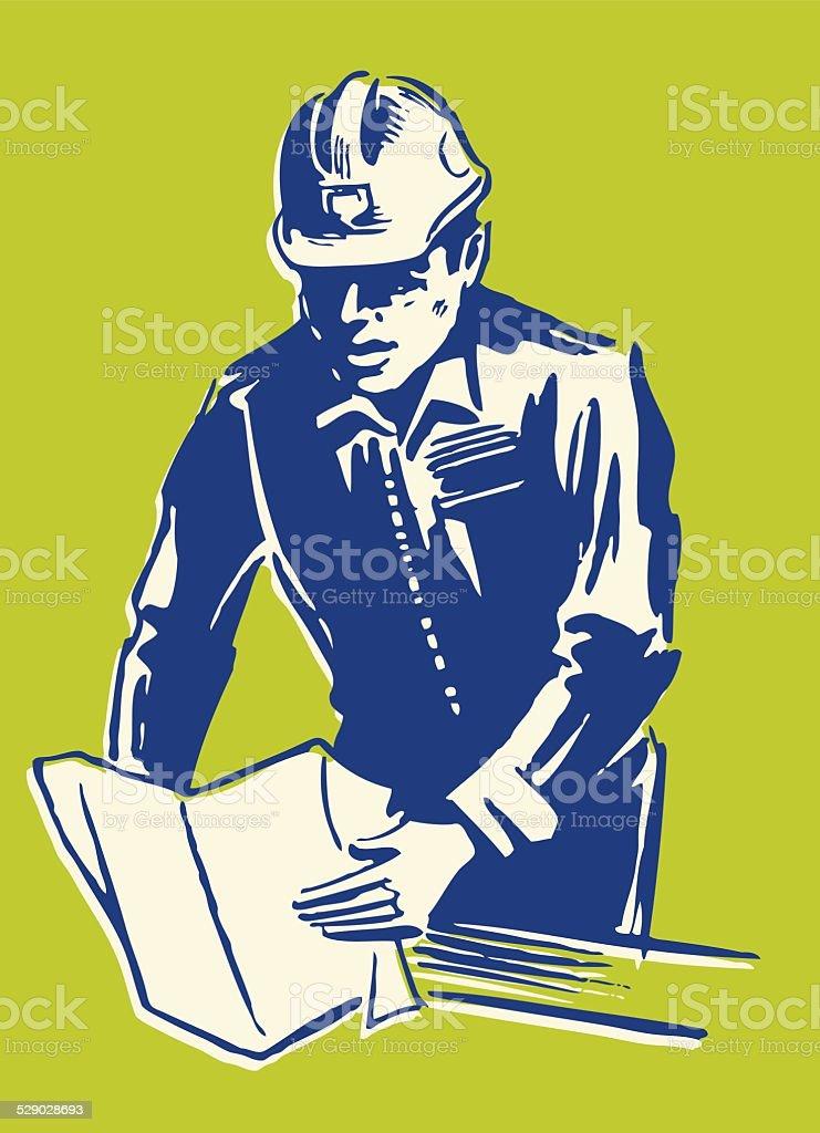Construction Worker Reading Plans vector art illustration