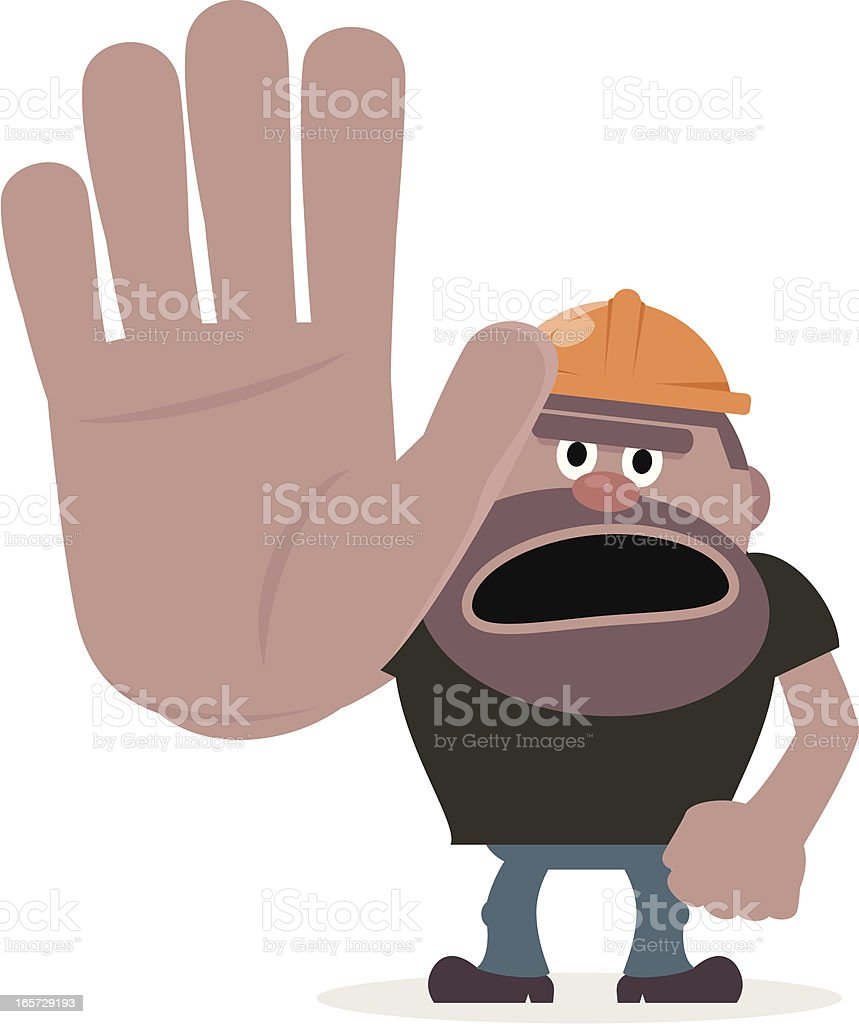 Construction Worker showing stop gesture vector art illustration