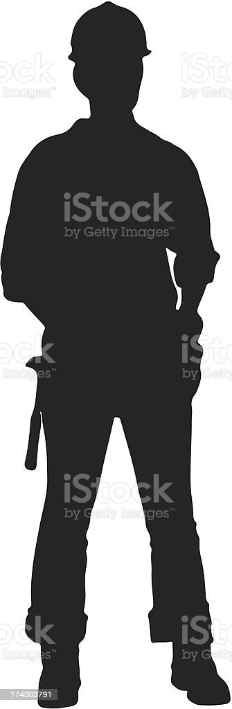 Construction worker silhouette vector art illustration