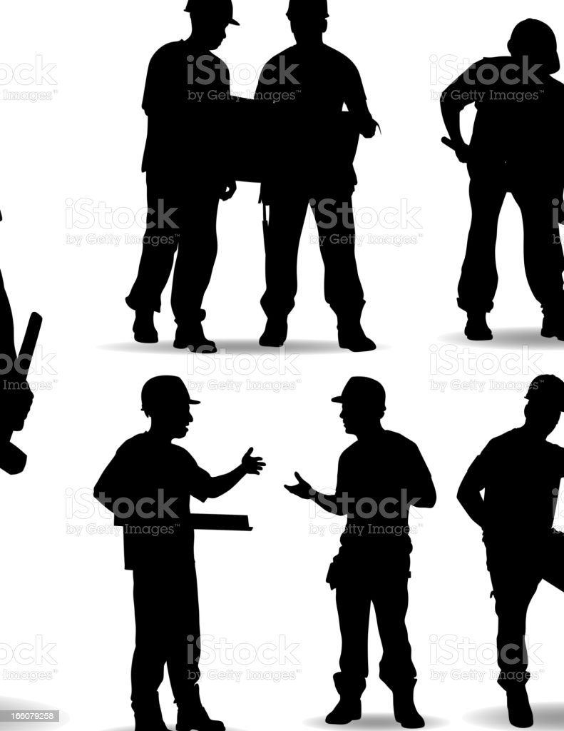 Construction worker silhouettes on white with shadows vector art illustration