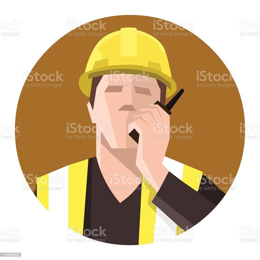Construction worker talking on the radio vector art illustration