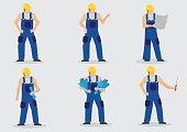 Construction Worker Vector Cartoon Character Set
