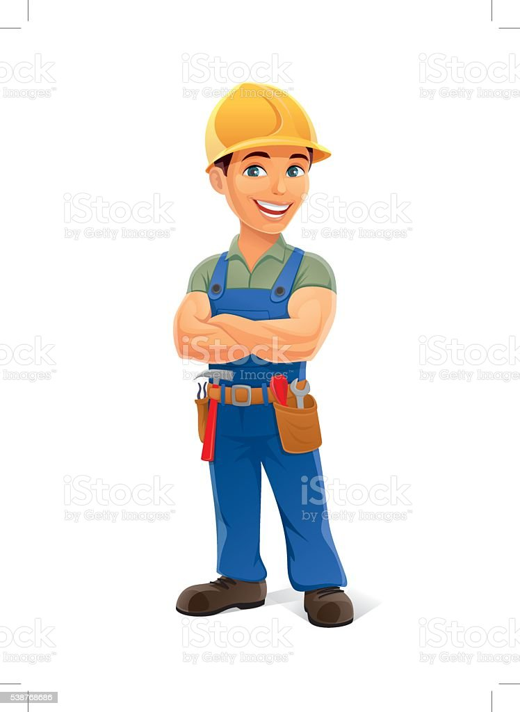 construction worker vector art illustration