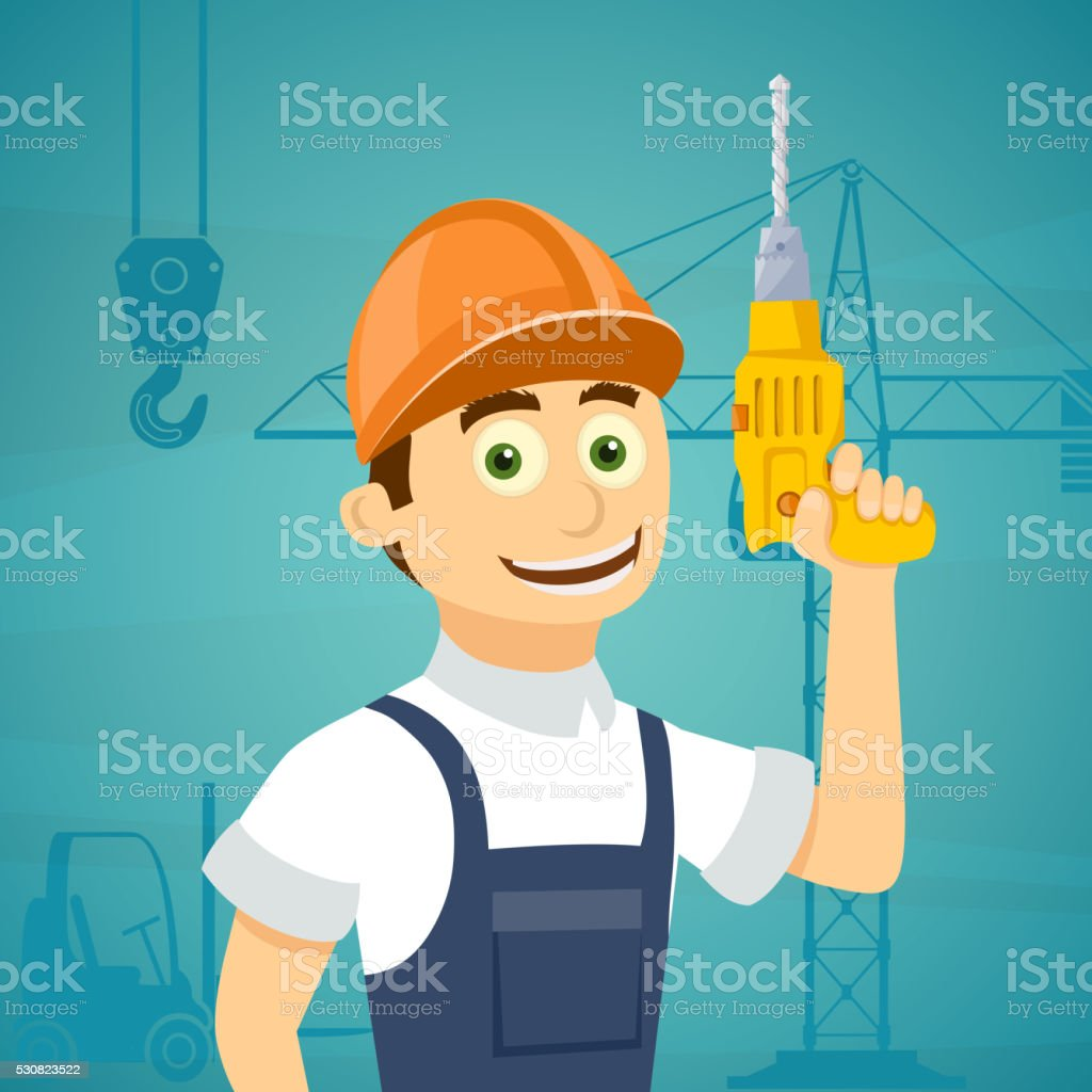 Construction worker with a drill tool in his hand. vector art illustration