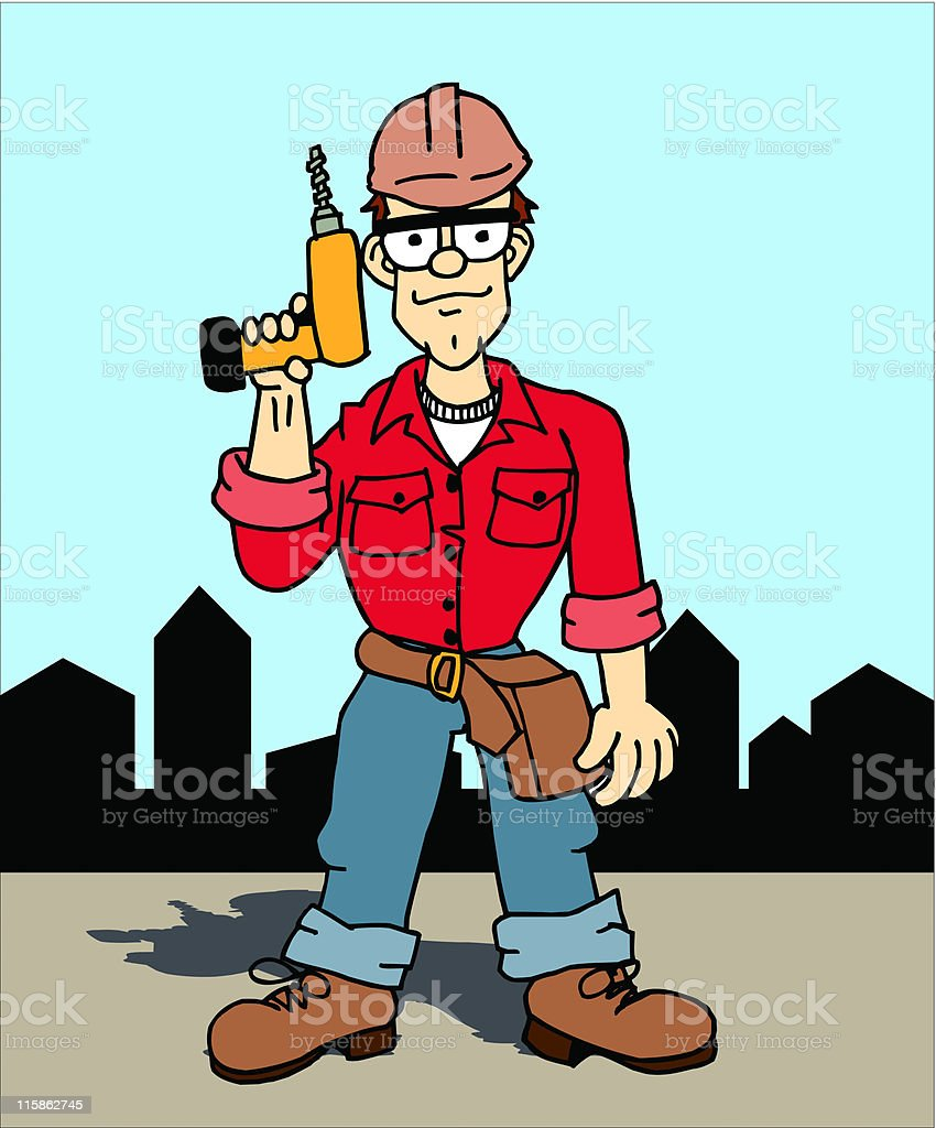 Construction Worker with Drill royalty-free stock vector art