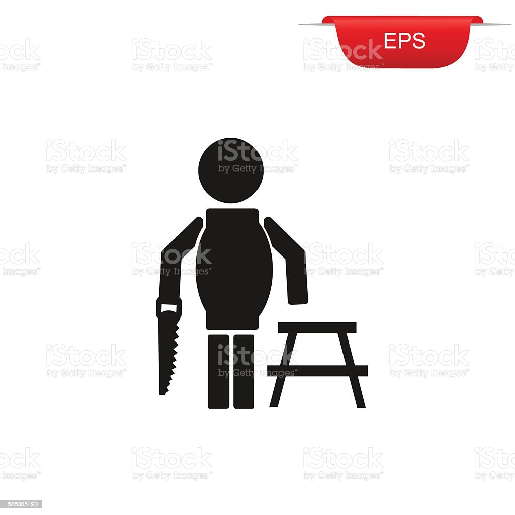 construction worker with hand saw, icon, vector illustration vector art illustration