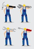 Construction Worker with Large Tools Vector Illustration