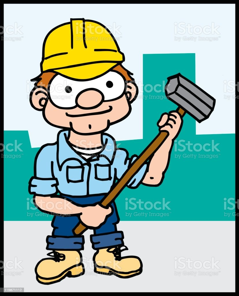 Construction Worker with Sledge royalty-free stock vector art