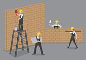 Construction Workers at Work Vector Illustration