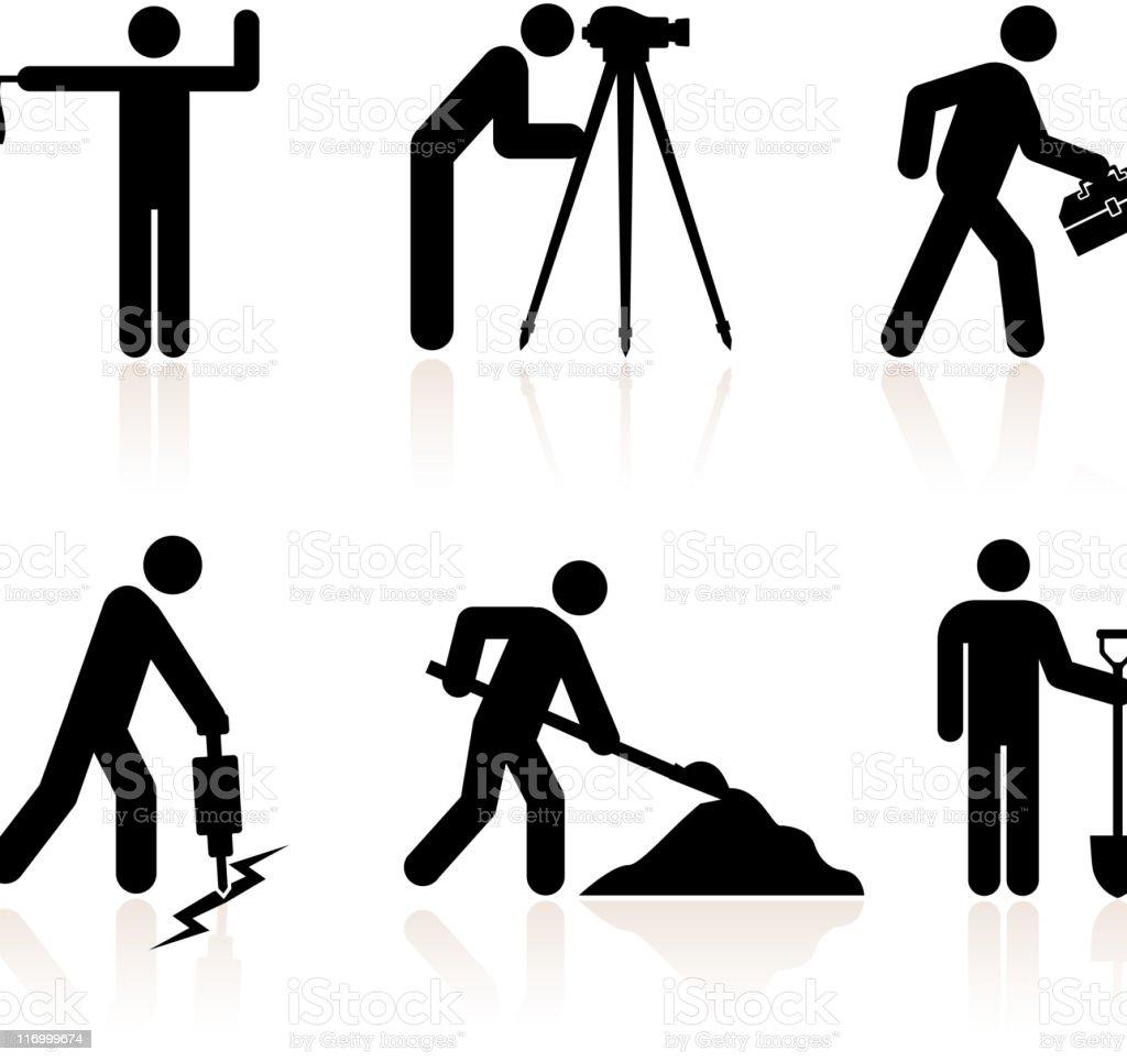 Bauarbeiter schwarz weiß  Bau Arbeiter Schwarz Und Weiß Lizenzfreie Vektor Iconset Vektor ...
