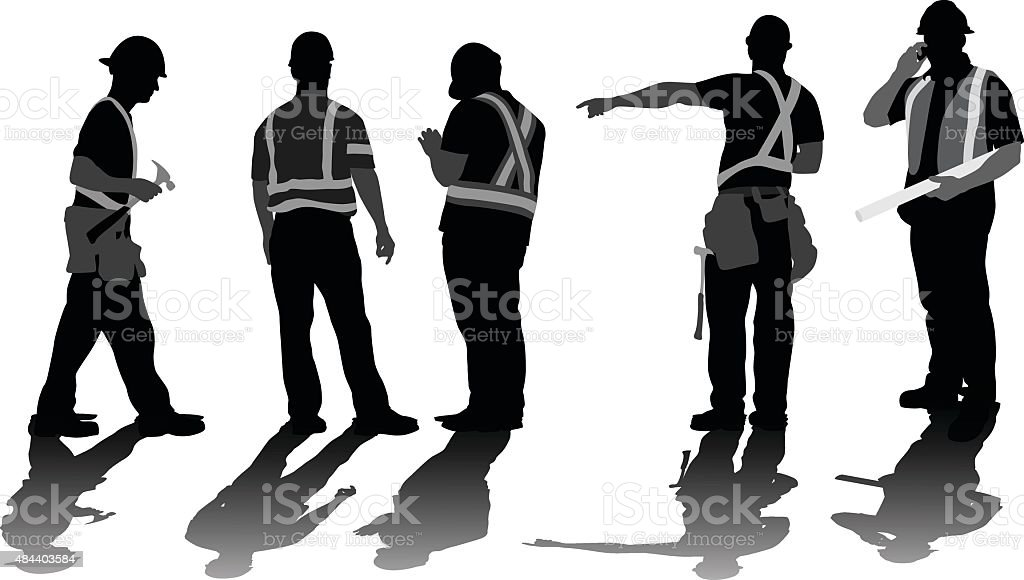 Construction Workers Problem Solving vector art illustration