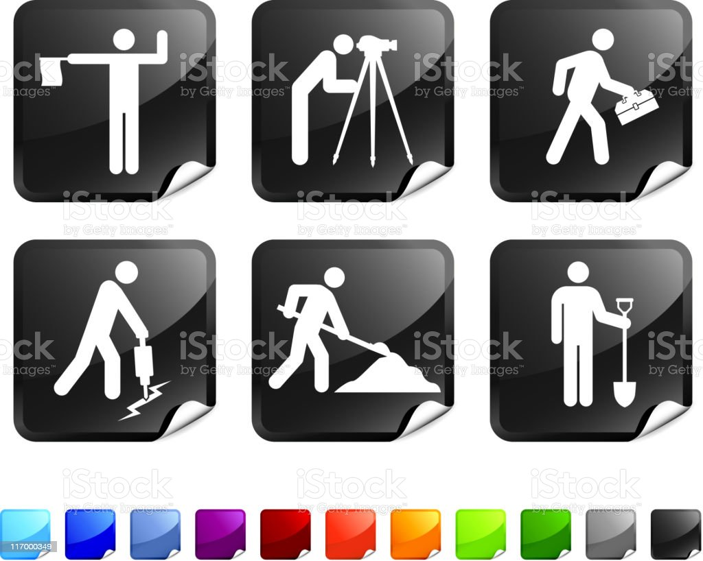 Construction workers royalty free vector icon set royalty-free stock vector art