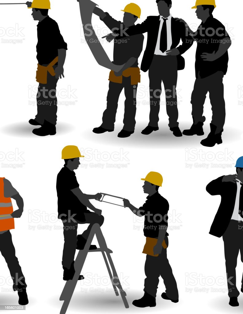 Construction Workers vector art illustration