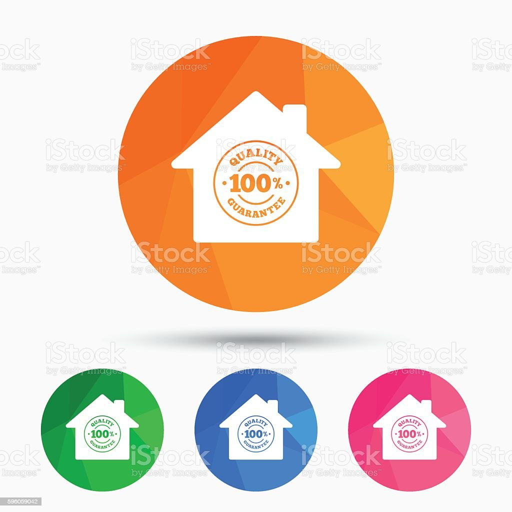 Construction works. 100% quality guarantee icon. vector art illustration