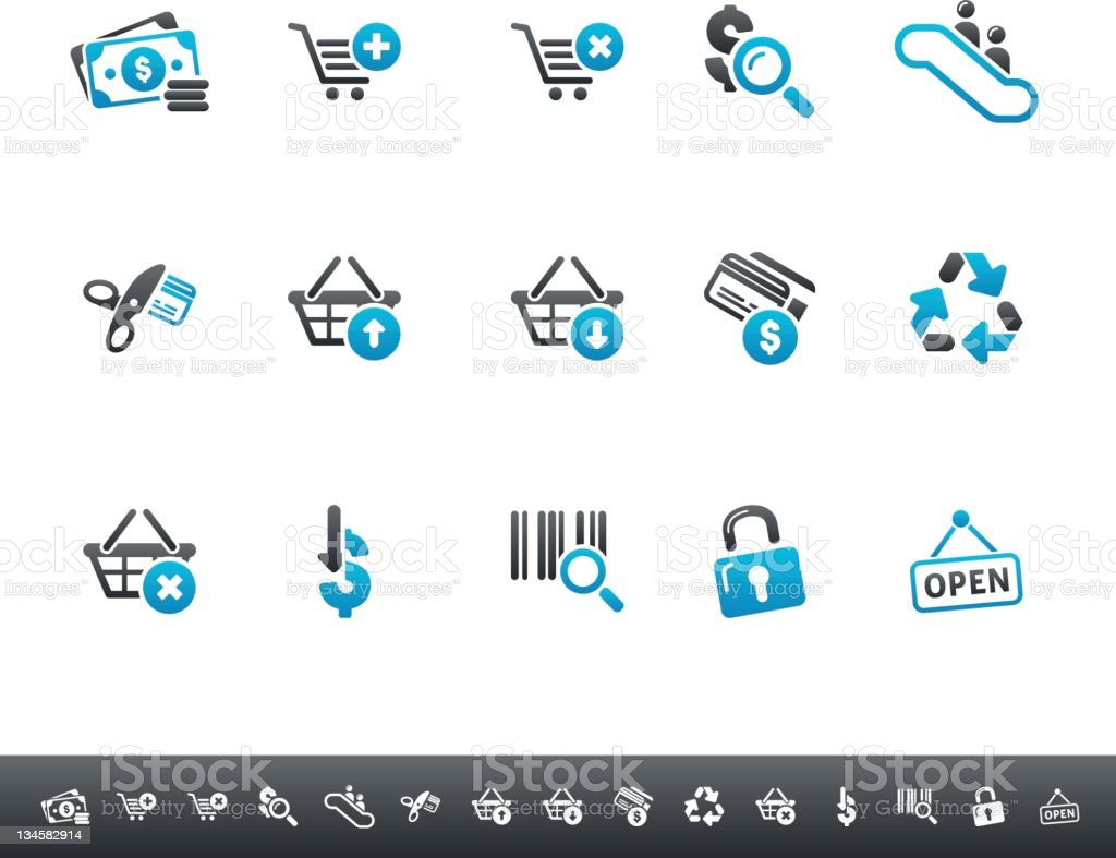 Consume & Shopping Icons | Blue Grey royalty-free stock vector art