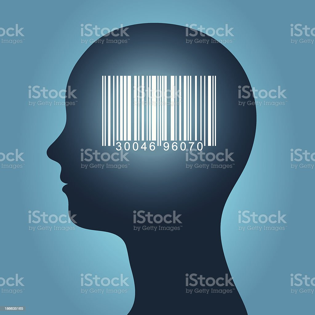 Consumer barcode in a female head royalty-free stock vector art