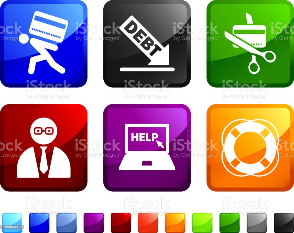 consumer debt relief royalty free vector icon set stickers royalty-free stock vector art