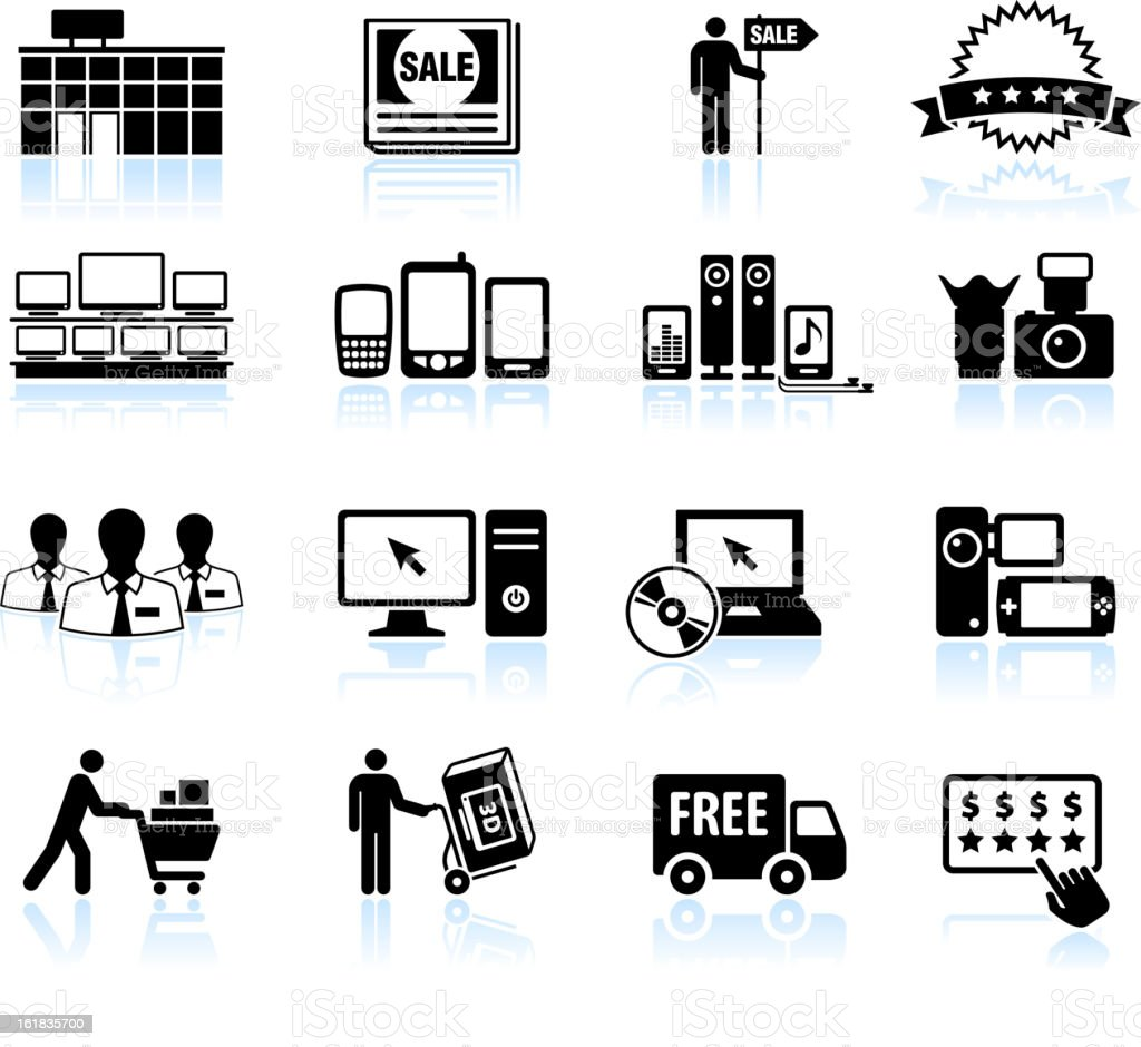 Consumer electronics super store sale black & white icon set royalty-free stock vector art