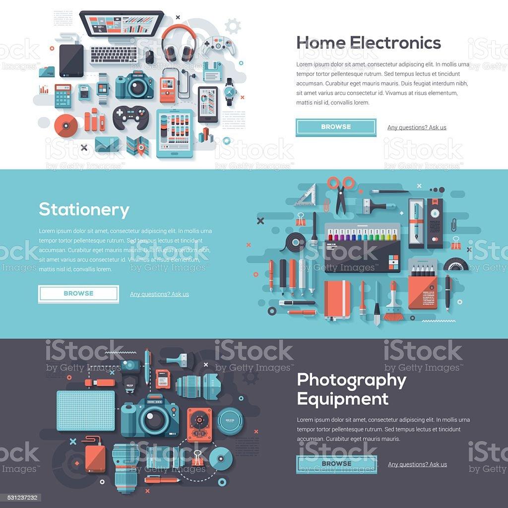 Consumer Products Web Banner Set vector art illustration