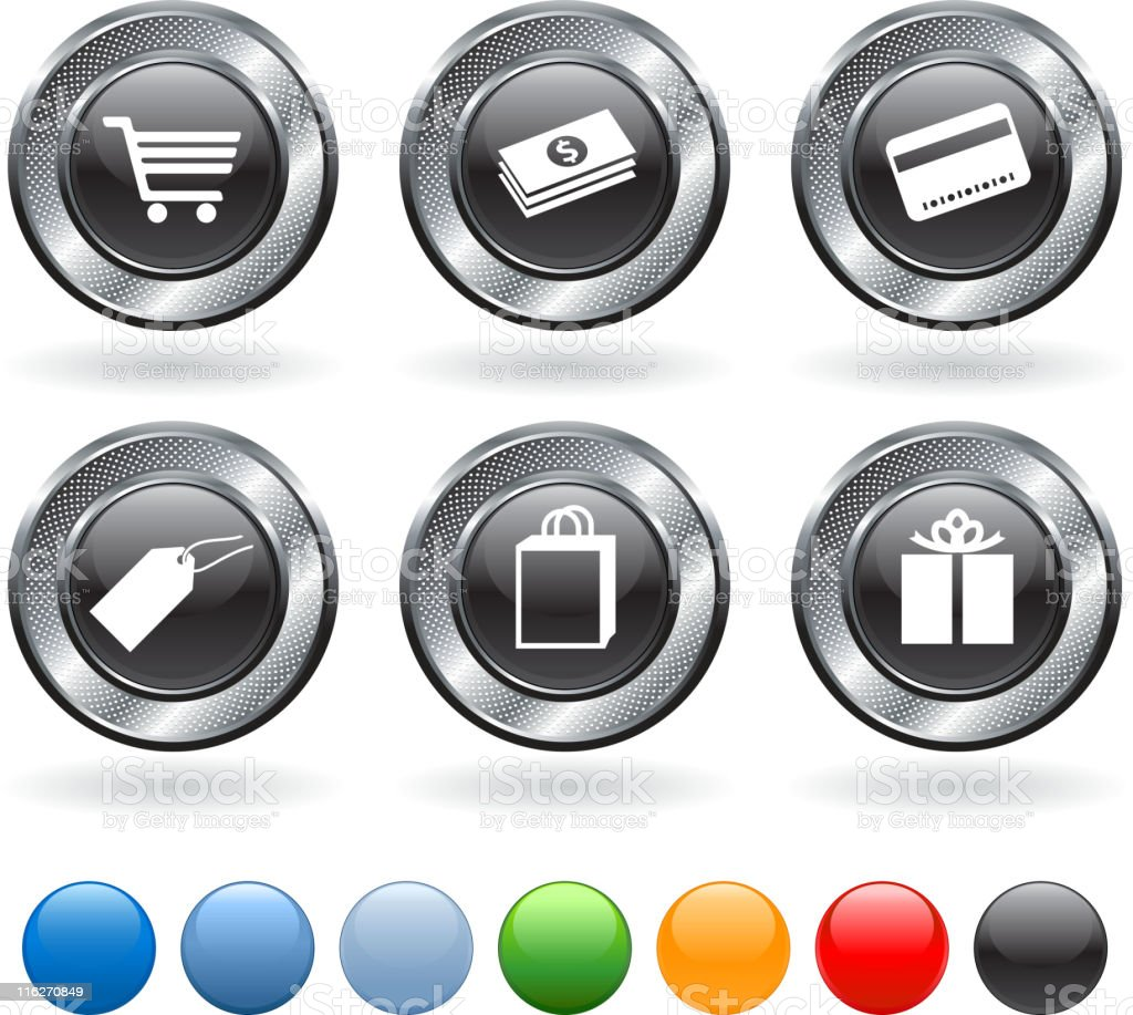 Consumerism royalty free vector icon set on metallic button royalty-free stock vector art