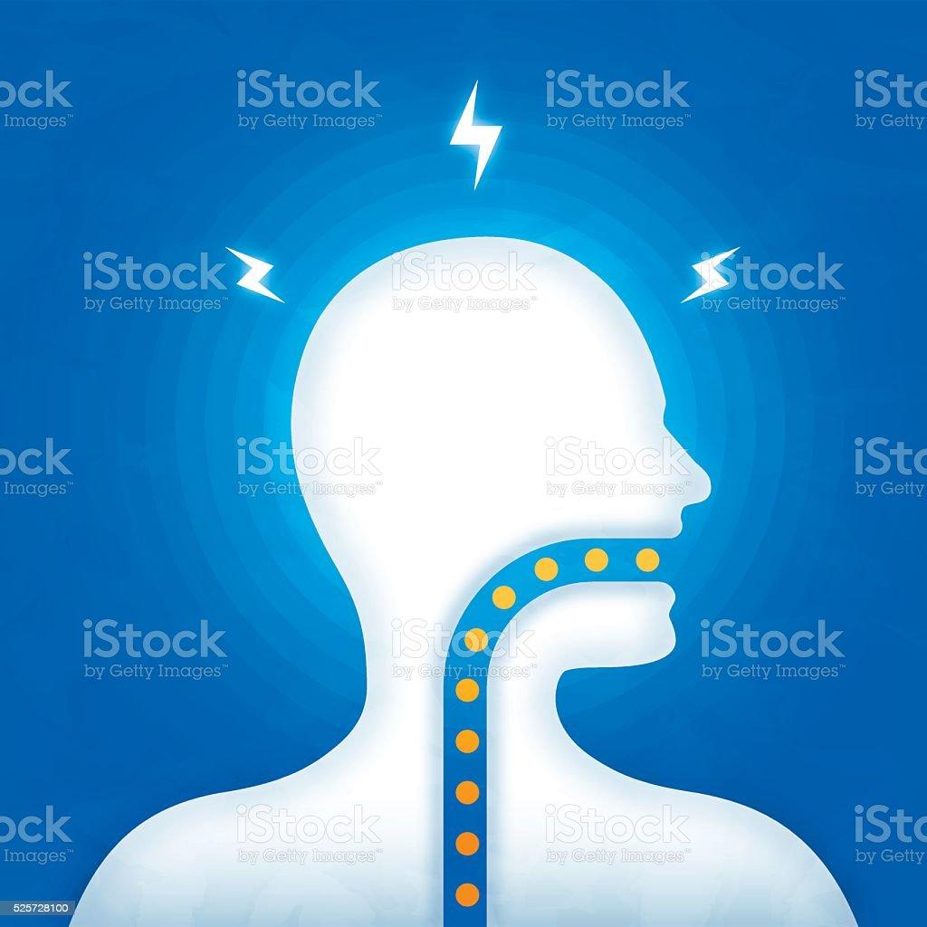 Consuming Medication or Headache Migrane Pain vector art illustration