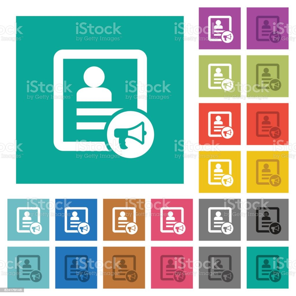 Contact alarm square flat multi colored icons vector art illustration