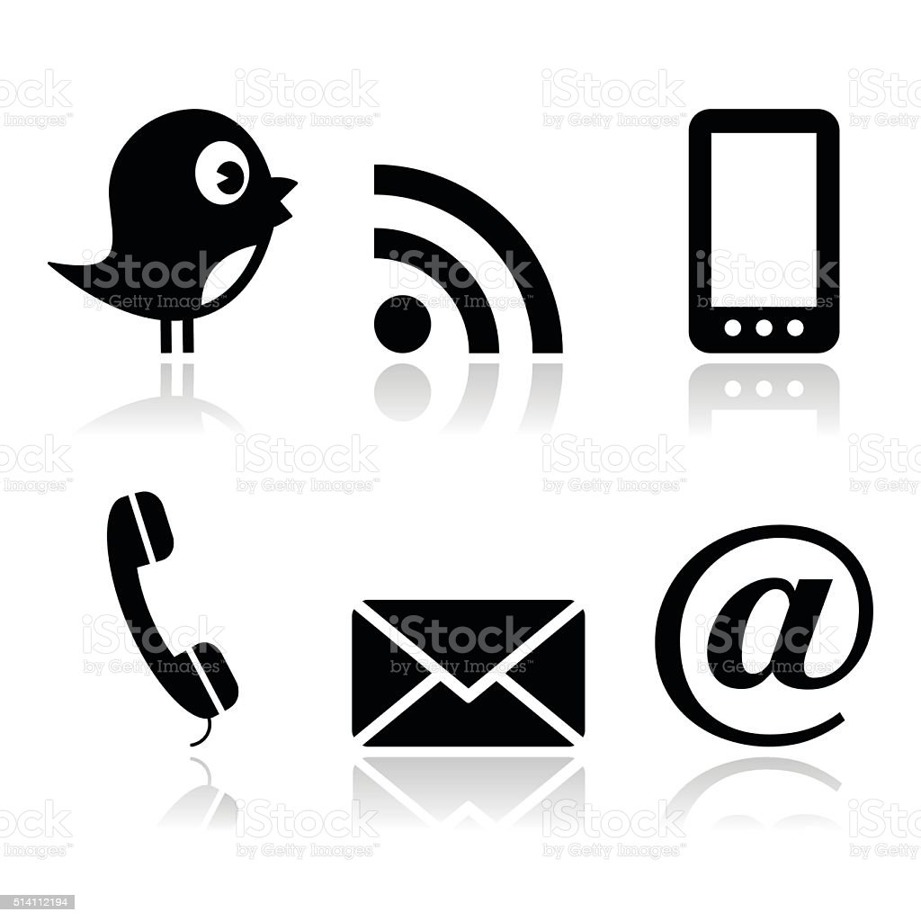 Contact and social media icons set- twitter, Facebook, RSS vector art illustration