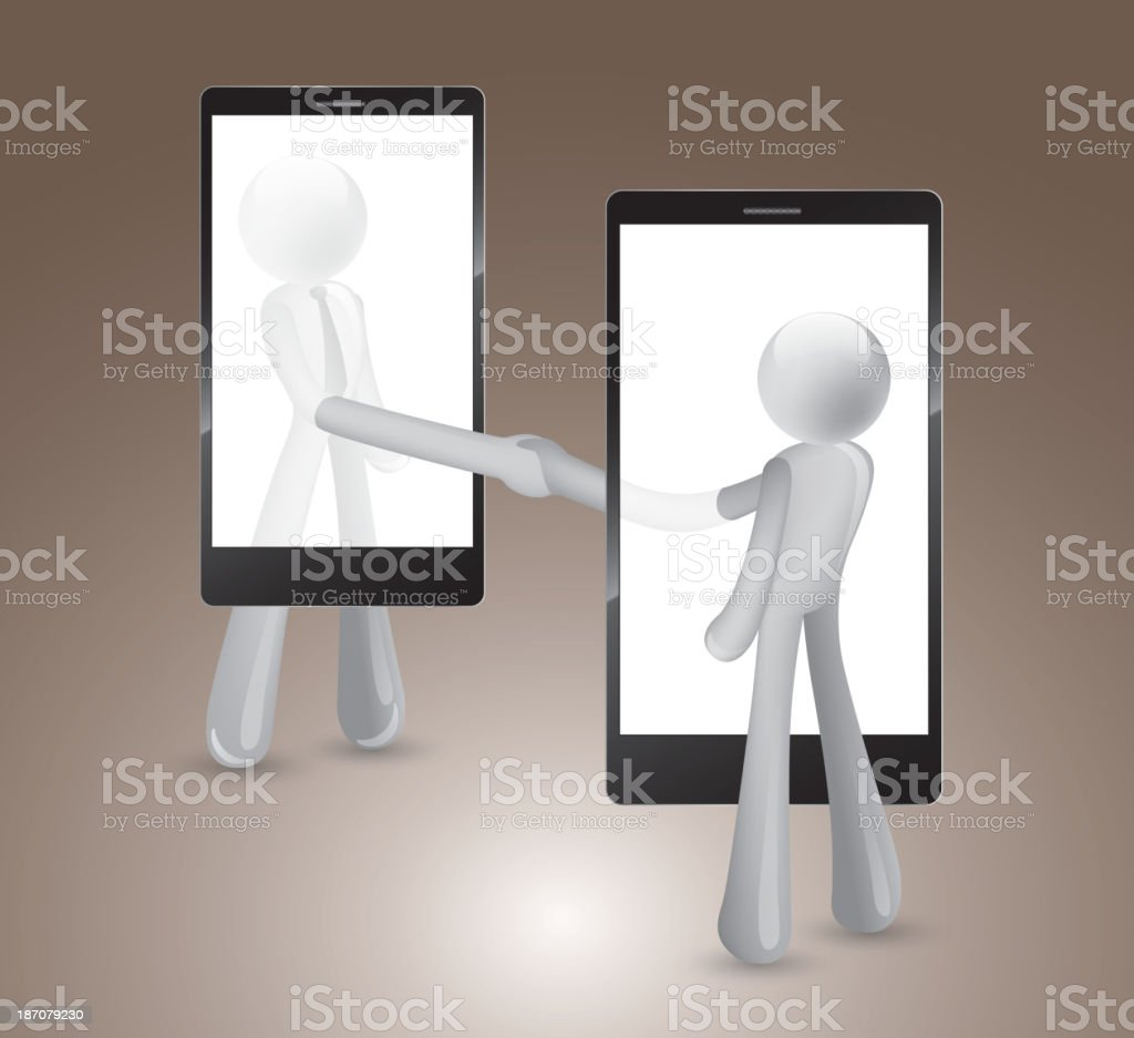 Contact by cellphone royalty-free stock vector art