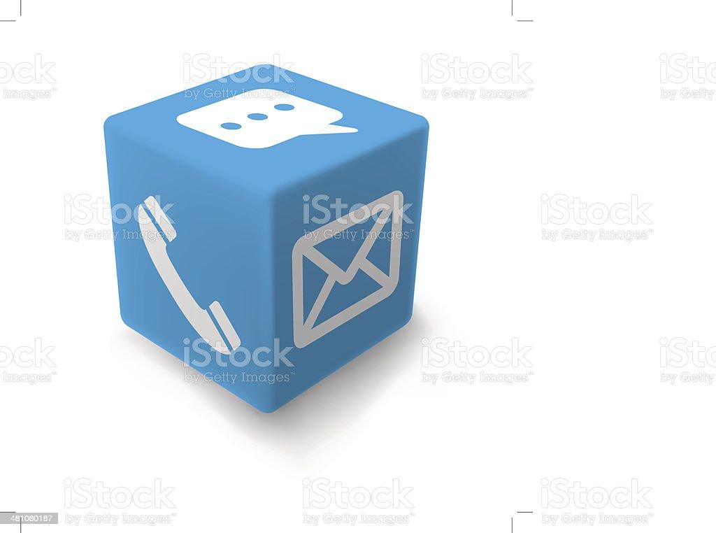 BLUE contact cube vector art illustration
