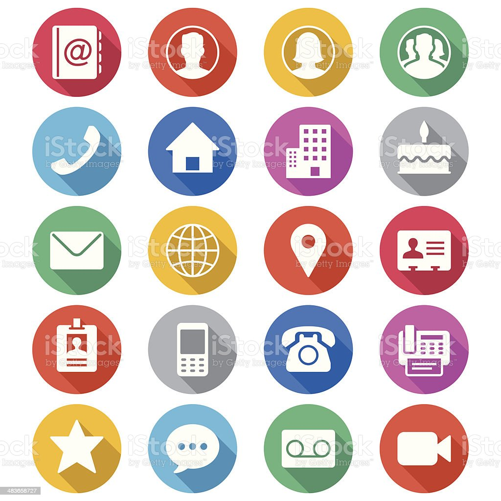 Contact flat color icons vector art illustration