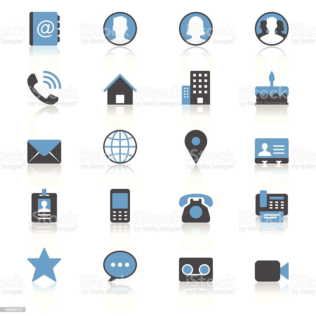 Contact flat with reflection icons vector art illustration