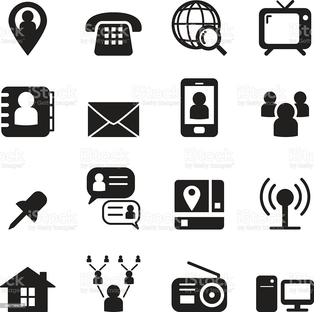 Contact icon set vector art illustration