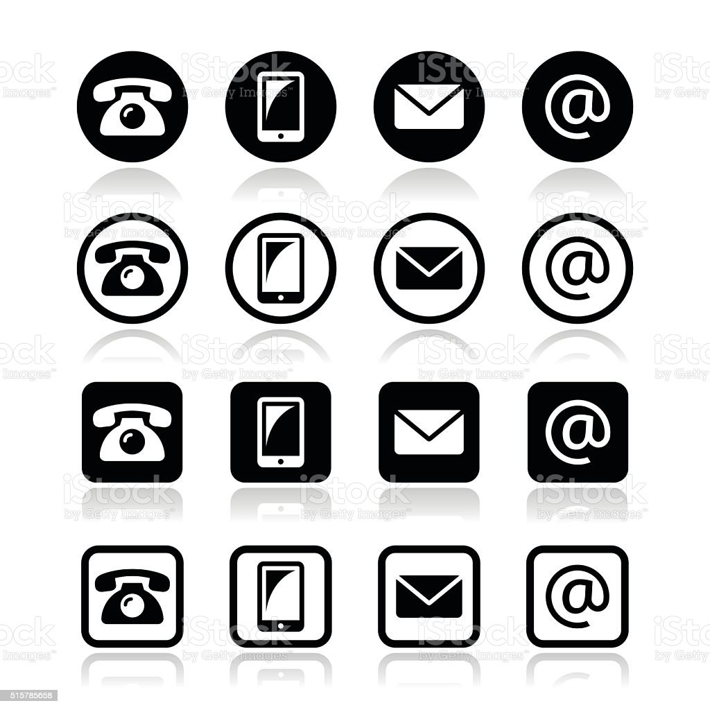Contact icons in circle and square set vector art illustration