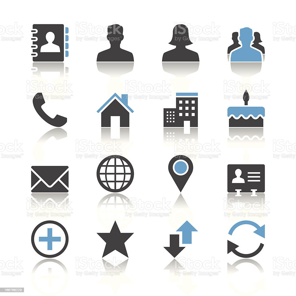 Contact icons - reflection theme vector art illustration