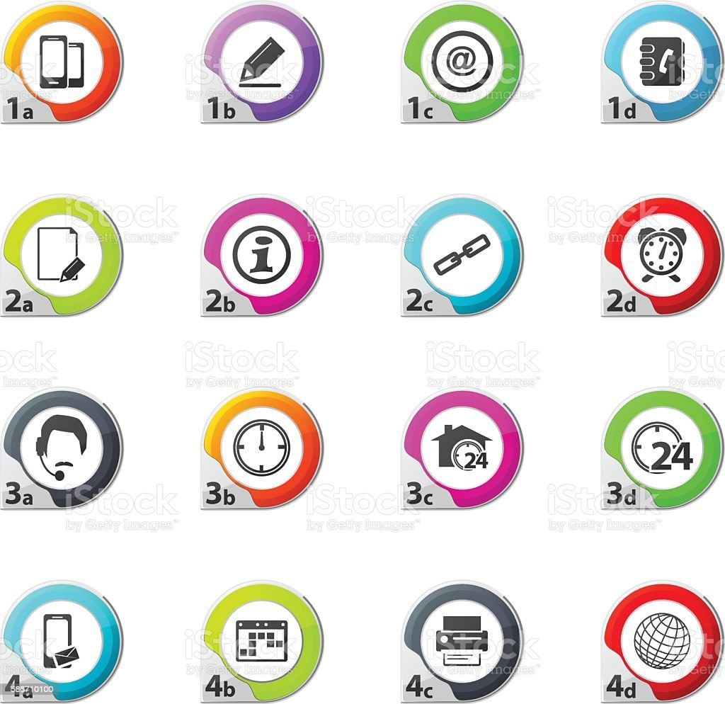 Contact Icons Set vector art illustration