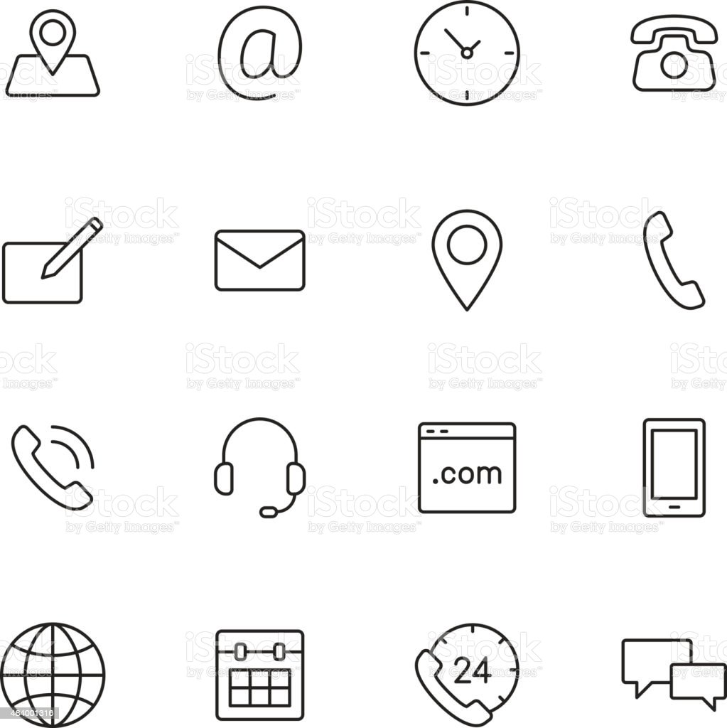 Contact Icons vector art illustration