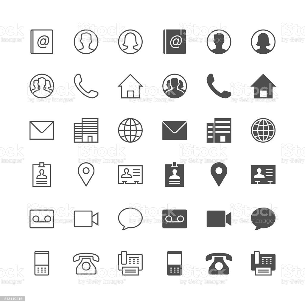 Contact icons royalty-free stock vector art