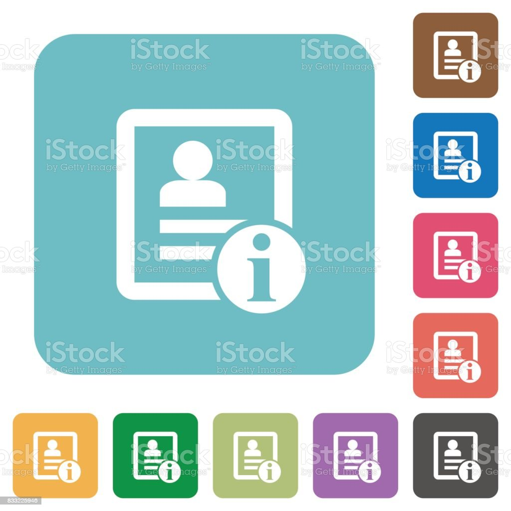 Contact information rounded square flat icons vector art illustration