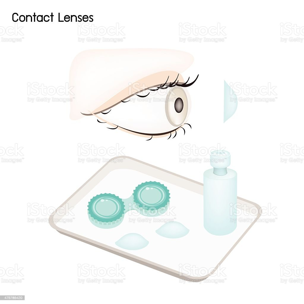 Contact Lenses, Storage Case and Solution Bottle vector art illustration