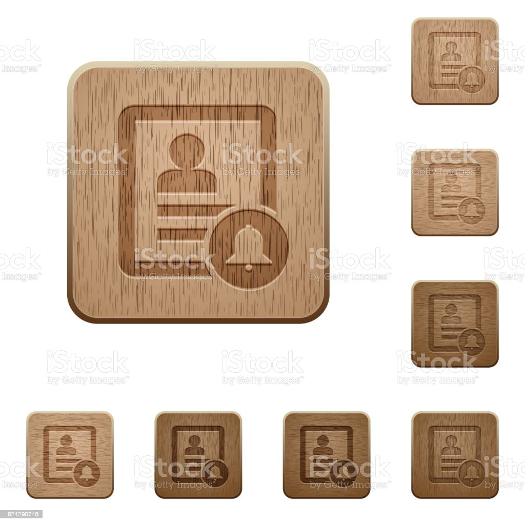 Contact notifications wooden buttons vector art illustration