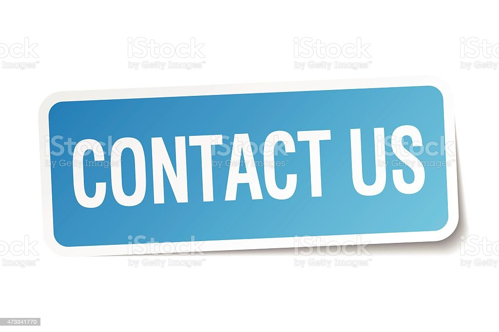 contact us blue square sticker isolated on white vector art illustration